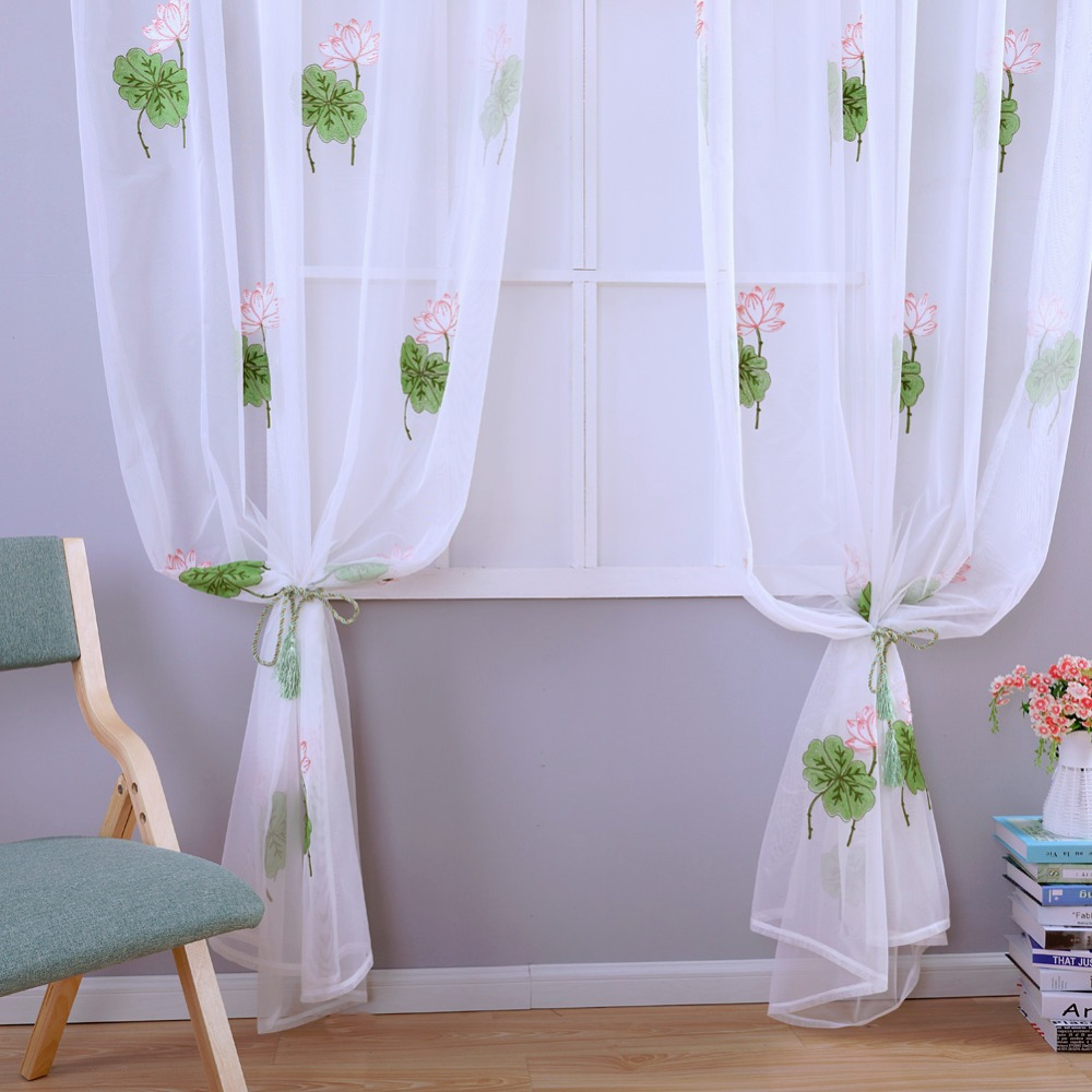 Summer Tulle Curtains White Modern Sheer Panel Living Room Window Treatments Short Curtain Kid Bedroom Green Embroidered Fabrics In From Home