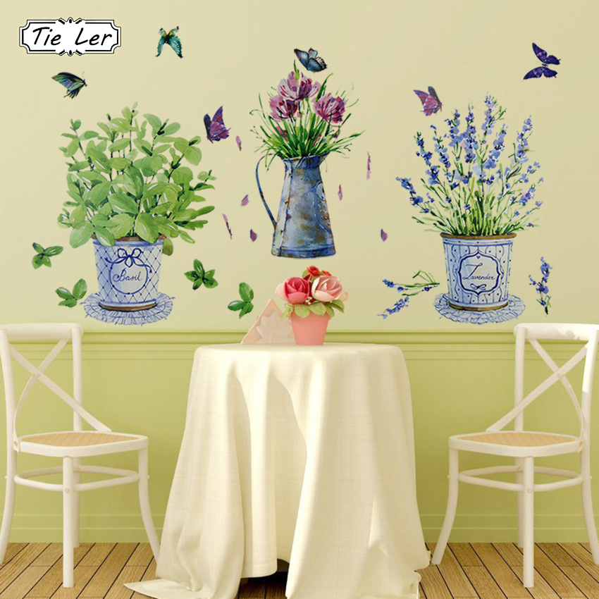TIE LER DIY Wall Stickers Home Decor Potted Flower Pot Butterfly ...