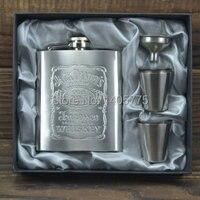 Luxury EZ Hip Flask 7oz Set Portable Stainless Steel Flagon Wine Bottle Gift Box Pocket Flask