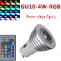 4pcs AC85-265V 16 Colors changing RGB LED Lamp 4W GU10 RGB LED Bulb Lamp Spotlight with Remote Control free shipping