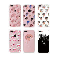 Sexy Wonman Phone Case For iphone 7 7Plus Fashion Lips Pattern Cases For iphone 6S 6 7 8 Plus X Cover Soft TPU Anti-knock cases(China)