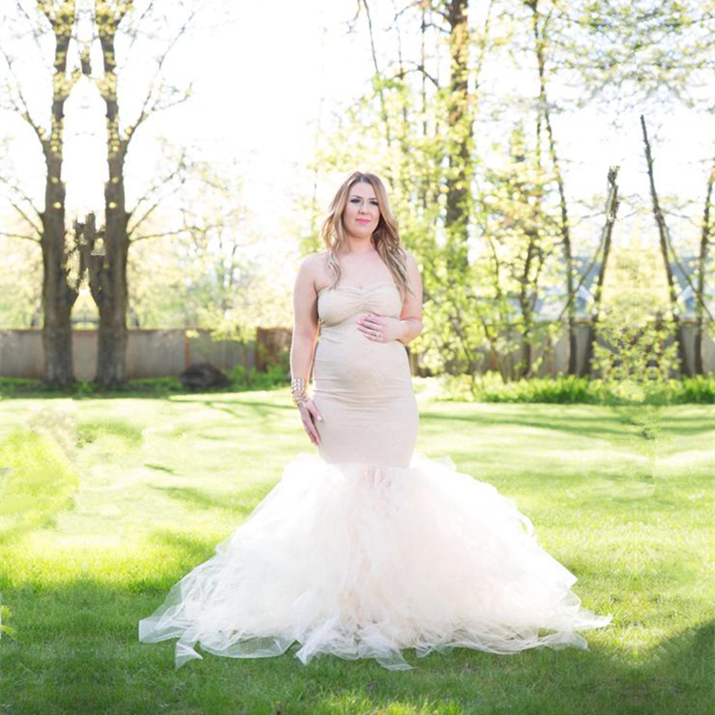 Le Couple Sweet Heart Maternity Tulle Photography Dresses Maternity Tulle Fitted Mermaid Long Photo Dress Pregnant Photography le couple maternity photography lace jumpsuits off the shoulder sweet heart maternity bodysuits close fitting maternity playsuit