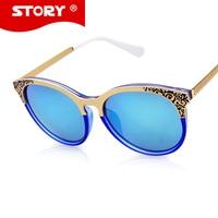STORY 2016 Vintage Transparent Frame Women Sunglasses Female Retro Flower Design Blue Mirror Eyewear Mens Oculos