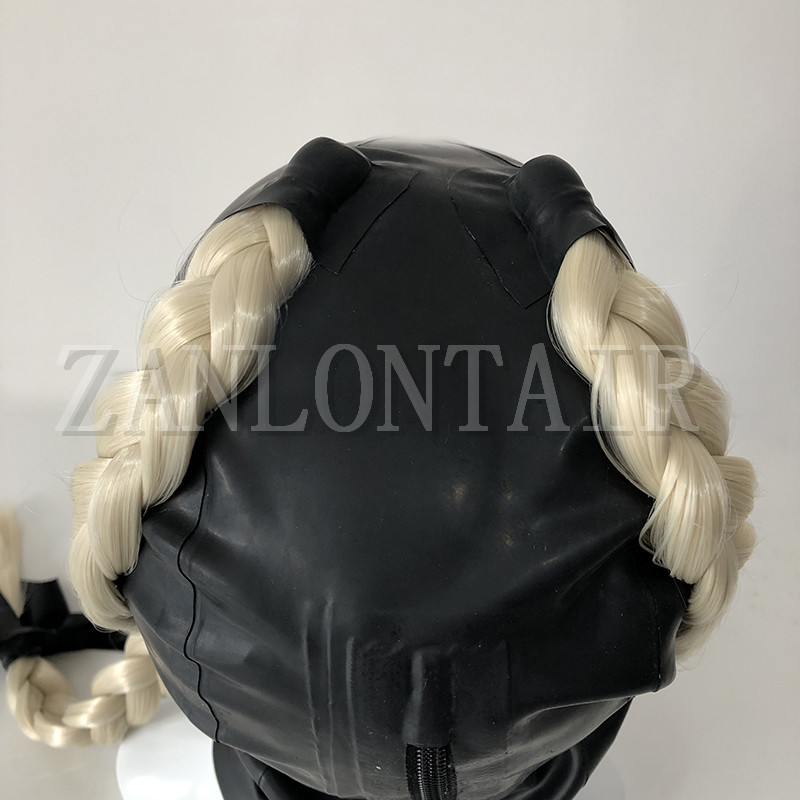 hot new sexy exotic lingerie black handmade latex hoods mask with two back side twisted braid pigtail fetish cekc zentai uniform in Teddies Bodysuits from Novelty Special Use
