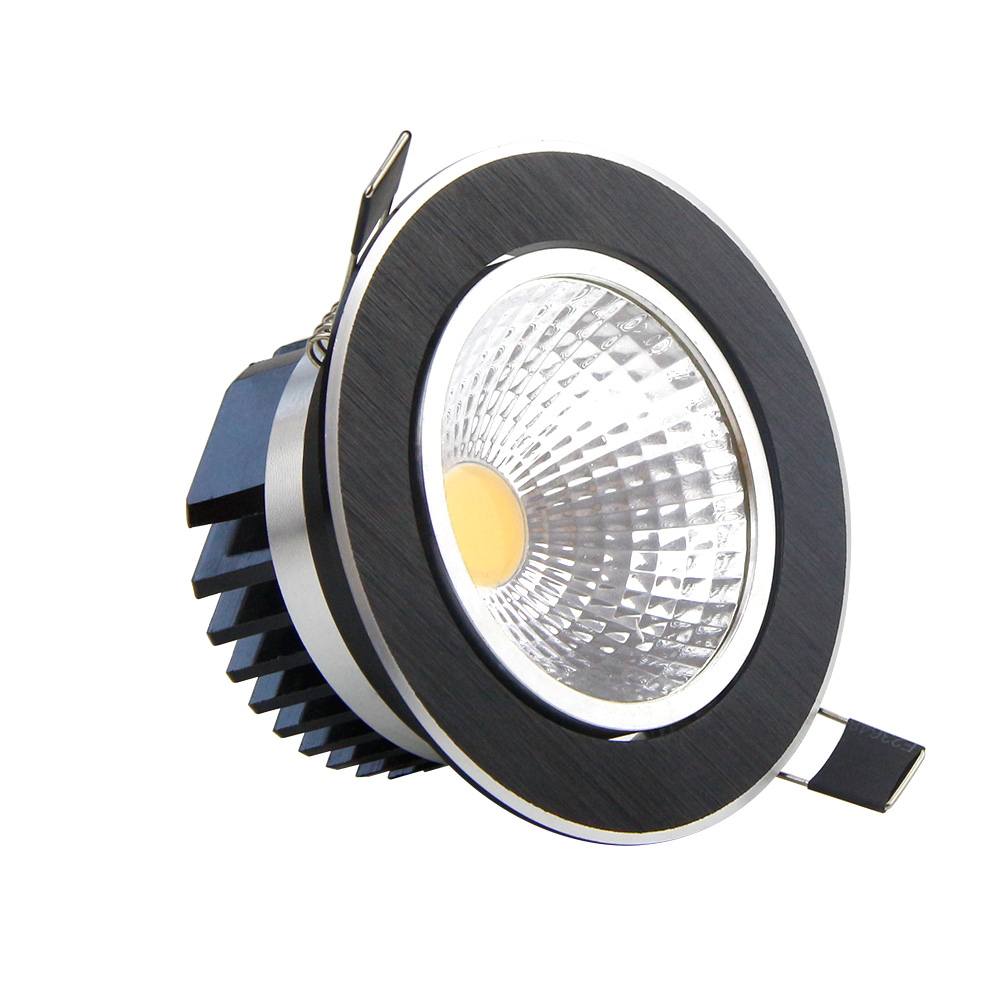 dimmable led cob downlight 5w 7w 9w 12w black round led spotlight ceiling recessed downlight for. Black Bedroom Furniture Sets. Home Design Ideas
