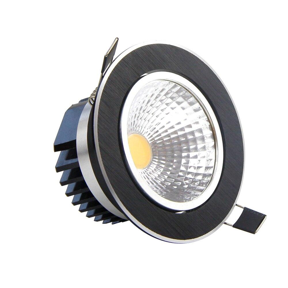 Dimmable cob светильник 5 Вт 7 Вт 9 Вт 12 Вт черный круглый светодиодный прожектор потолочные встраиваемые светильники для домашний Декор лампы AC110V ...