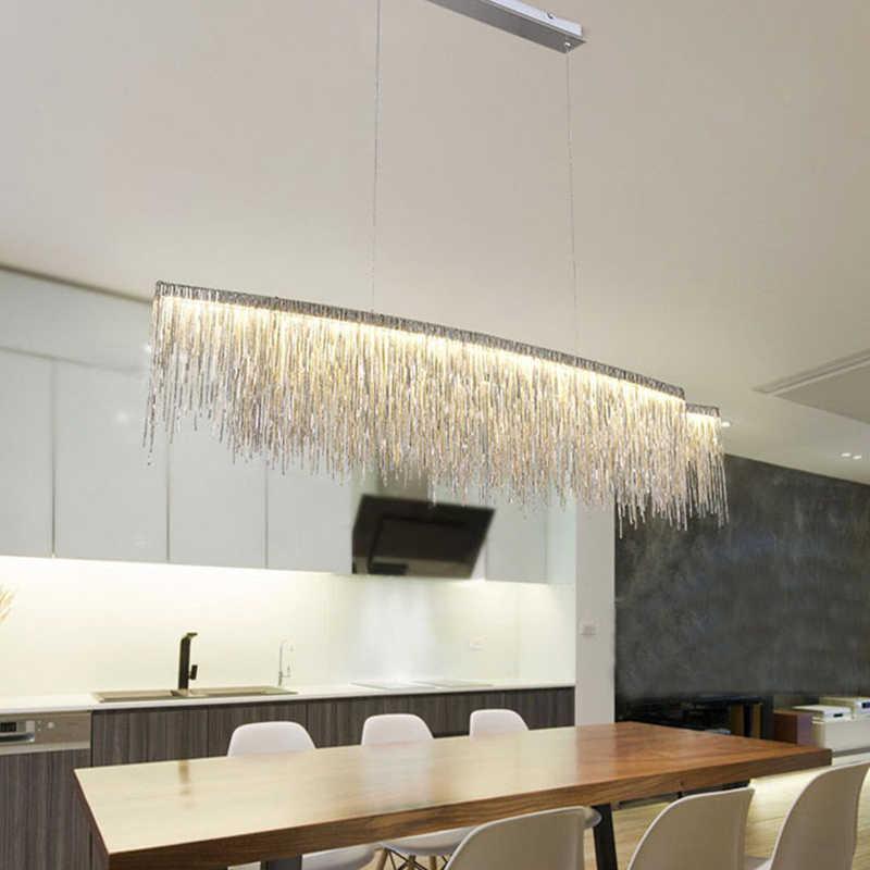 Современные Три сорта интенсивность света кисточкой люстра Nordic ресторан роскошный отель инженерных цепи гостиная искусство освещения