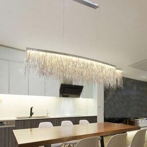 Image 5 - Remote Modern Three Grades Lamp Intensity Tassel Chandelier Nordic Restaurant Luxury Hotel Engineering Chain Living Lighting