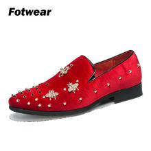 Fotwear Mens Loafers Men casual shoes Party style for Night club Dance Club Fashion young Rivet corduroy upper Soft bottom
