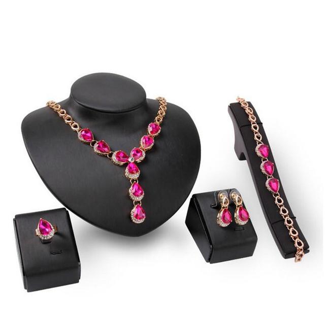 2016 Nuevas Mujeres de La Moda Oro de La Vendimia Plateó Rose Red Bridal Rhinestone Sistemas de La Joyería de Perlas de Boda Africanos S0284