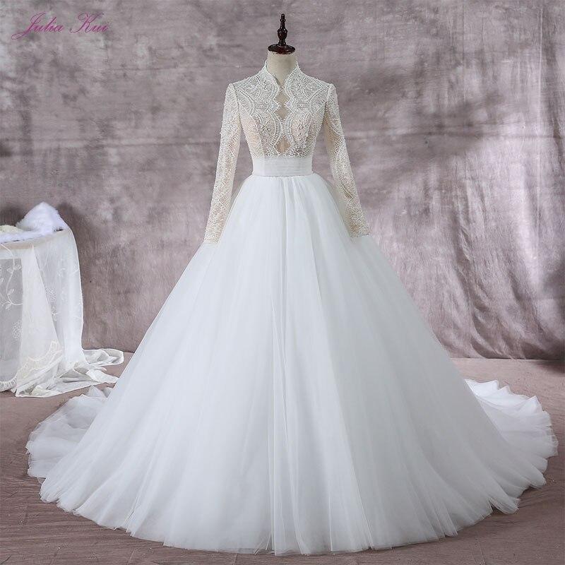 Блестящее Бисероплетение жемчугом Высокий воротник А силуэта свадебное платье Элегантное кружевное с длинными рукавами шелковистая орган