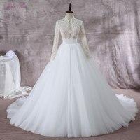 Блестящие Бисер жемчугом Высокий воротник линия Свадебное платье Элегантное кружевное Длинные рукава шелковистой органзы можно настроить