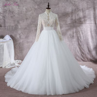 Shiny Beading Pearls High Collar A Line Wedding Dress Elegant Lace Full Sleeves Silky Organza Can Customize Made Bridal Dress