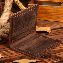 HiLEDER 100% Top Quality Natural Genuine Leather Men Wallets Famous Brand Vintage Male Wallet Card Holder for Men's Purse