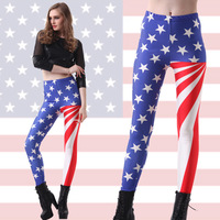 2017 Spring section Europe vertical stripes stars American flag slim slim PANTS LEGGINGS Legin Capris Boothose Gaiters Wholesale