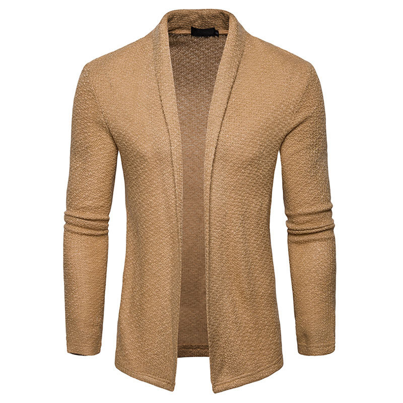 Men casual simple Cardigan Spring Autumn College style unique Lapel Shawl Knitting sweater long-sleeved knit cardigan jacket