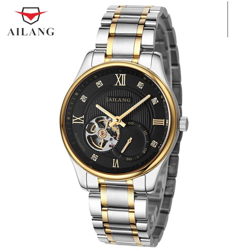 цена на AILANG Men's Luxury Watches Mechanical Skeleton Black Dial Wristwatches Men Quartz Fashion Business Water Resistant Watches A020