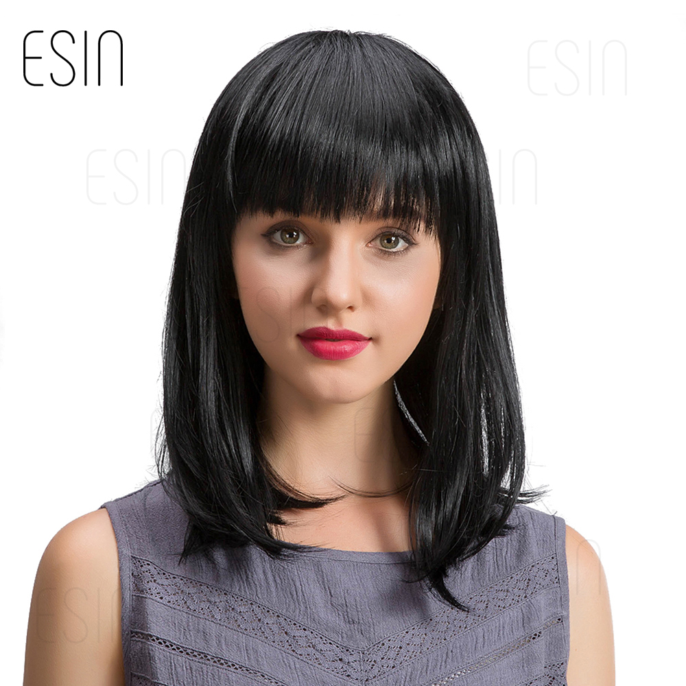 ESIN 16 inch Straight Hair Bob Wigs for Women Long Wig Synthetic Hair 70% Human Hair + 30% Synthetic Hair Elegant Neat bangs
