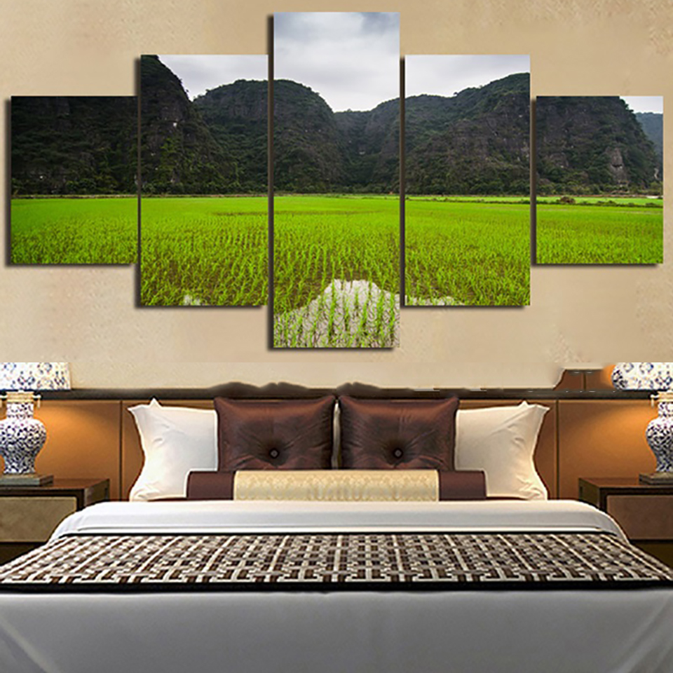 Frame Living Room HD Printed Painting 5 Panel Mountain Green Fields Nature Scenery Modern Wall Art Pictures Home Decor Posters