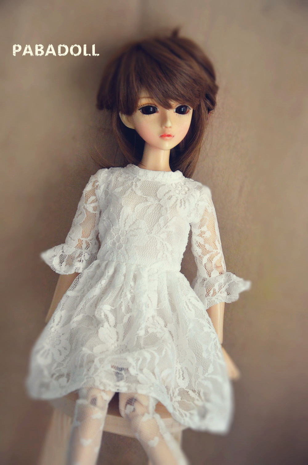 Pretty White Lace Dress For BJD Doll 1/6 YOSD 1/4 MSD,1/3 SD16 DD Luts DOD AS DZ Doll Clothes CWB96 new bjd doll jeans lace dress for bjd doll 1 6yosd 1 4 msd 1 3 sd10 sd13 sd16 ip eid luts dod sd doll clothes cwb21