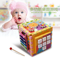 New 6 in 1 Shape Geometry Treasure Box Building Blocks Wood Multi function Board Game Enlightenment Puzzle Early Learning toys