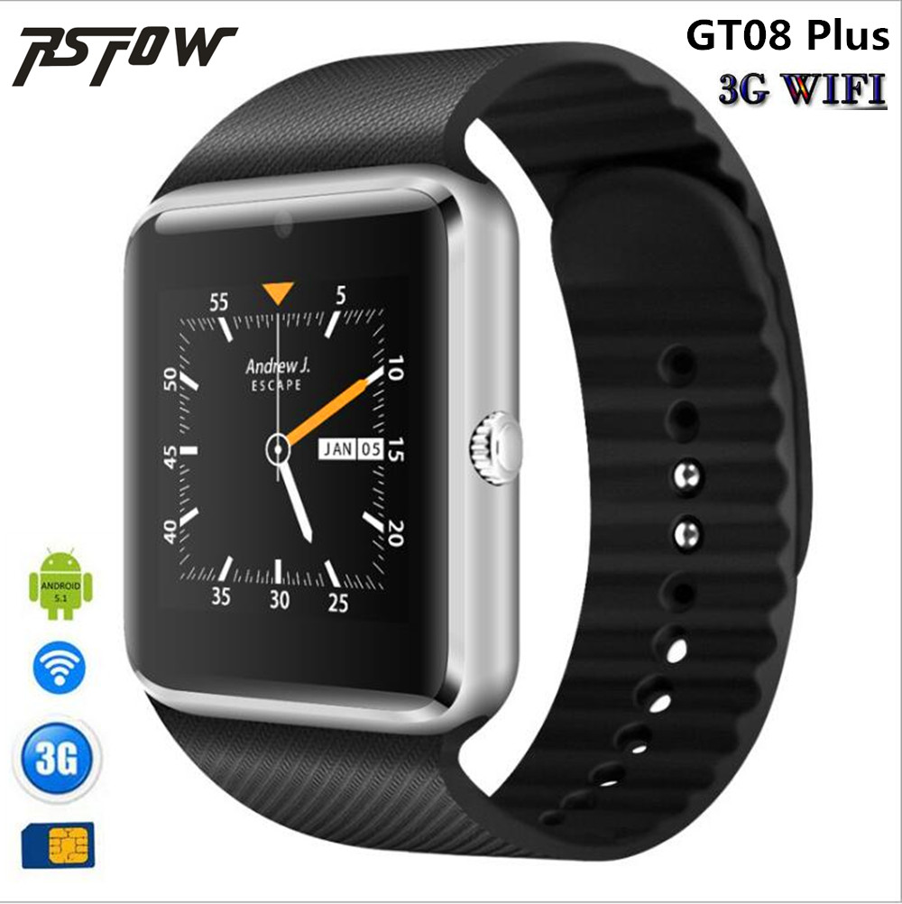 RsFow 3G Wifi QW08 Android Smart Watch GT08 support Play Store Download APP Smart Clock with Whatsapp and Facebook Reminder