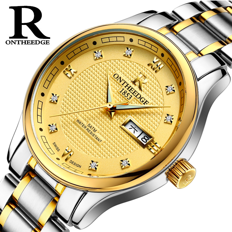 Automatic Watch Self-Wind ONTHEEDGE Mens Watches Top Brand Luxury Business Watch Style original binger mans automatic mechanical wrist watch date display watch self wind steel with gold wheel watches new luxury