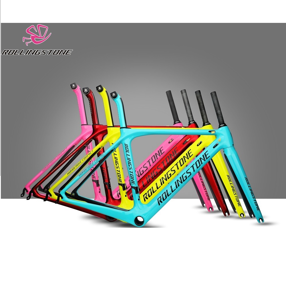 Rolling Stone Compass Road Carbon Frame With FORK, Seat Post RED 45cm 47cm 50cm C-t 1030g