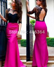 Vestido 2015 Fashionable Rose Red Satin Black Lace Half Sleeves Mermaid Prom Dress Evening Gown