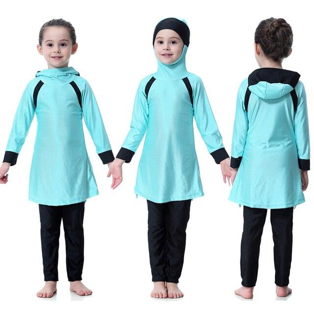 2018 ใหม่มาถึงเจียมเนื้อเจียมตัวชุดว่ายน้ำมุสลิมสาวเด็กแขนยาวชุดว่ายน้ำhooded Patchworkชุดว่ายน้ำชายหาด