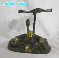 Chinese Antique Home Decorated Handmade Bronze Carving buddha statue The Candle Holder/ Candlestick