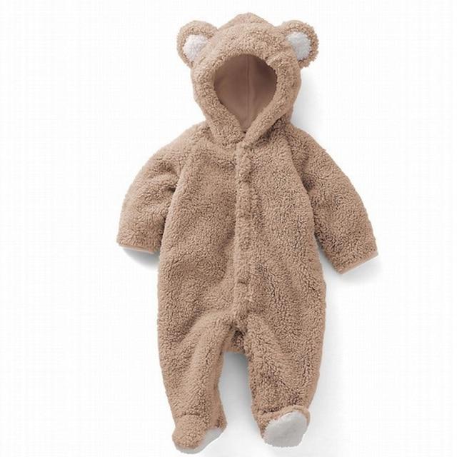 Autumn Winter Berber Fleece Cartoon Animal Hooded Warm Foot Romper Infant Baby Boys Girls Cute Long-sleeve One-piece Jumpsuit