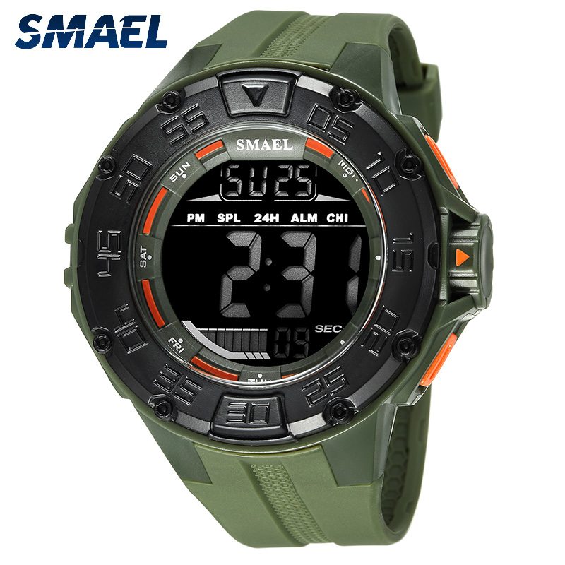 Digital Watch LED SMAEL Men Clock Waterproof LED Display Running Stop Watch Army Green relogio 1543 Military Watch Digital LED