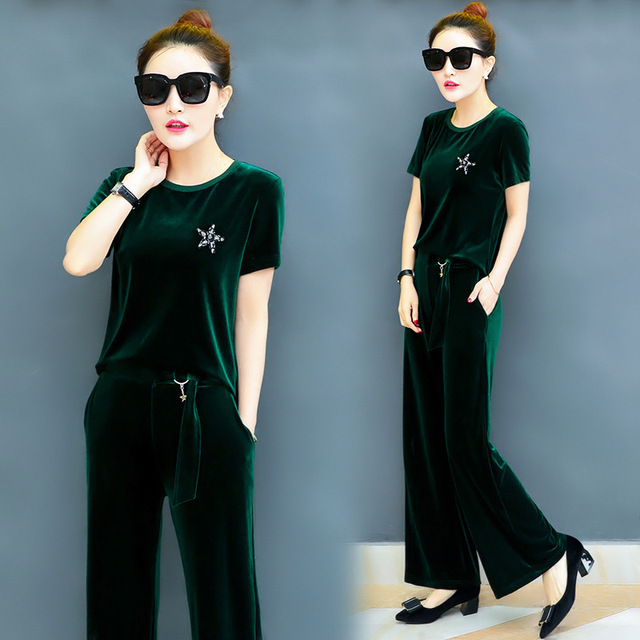 9bf2843b59 US $36.98  Women's Sporting Suits Short Sleeved Velour Tracksuit Casual  Sportswear Velvet Suit 2017 New Summer Female Shirt Wide Leg Pants-in  Women's ...