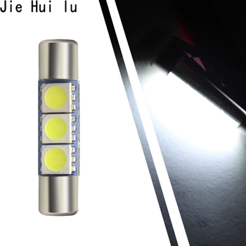1Pcs Super Bright 31MM 28mm 3 SMD 5050 LED Car Auto C5W Interior Festoon Vanity Mirror Sun Visor Lights Bulb Lamp DC 12V image