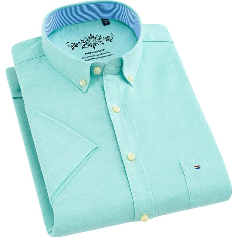 2018 Zomer Korte Mouw Oxford Mannen Dress Shirts Non-iron Hoge Kwaliteit 70% Katoen Button-down Kraag Business Casual Mannen Tops Uitstekend In Kusseneffect