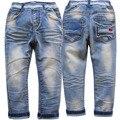 4004 fina e regular jeans meninos menino denim calça casual luz azul trsousers criança crianças roupas moda infantil macio novo elástico