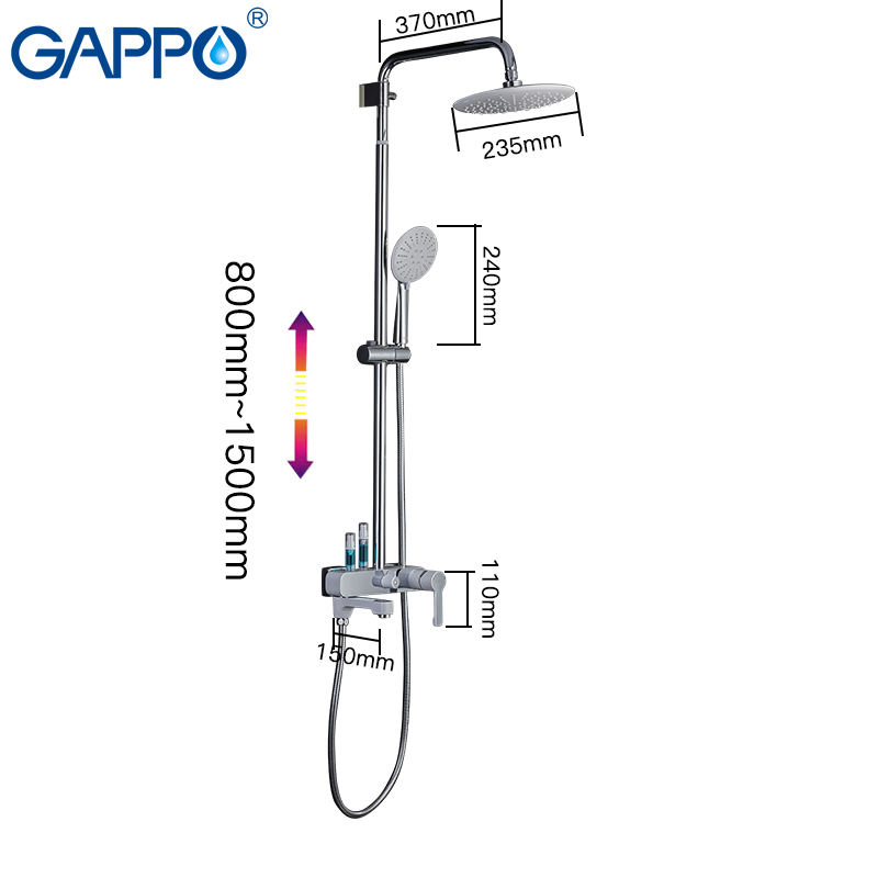 GAPPO shower faucets bathroom White chrome shower set bath bath mixer bathroom shower system G2402 8 GAPPO shower faucets bathroom White chrome shower set bath bath mixer bathroom shower system G2402-8