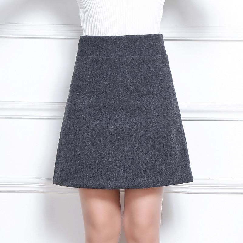 2017 Winter Women Wool A Line Skirt Korean Sexy Slim Warm Solid Color High Elastic Waist Skirt Plus Size Gray Black Mini Skirt