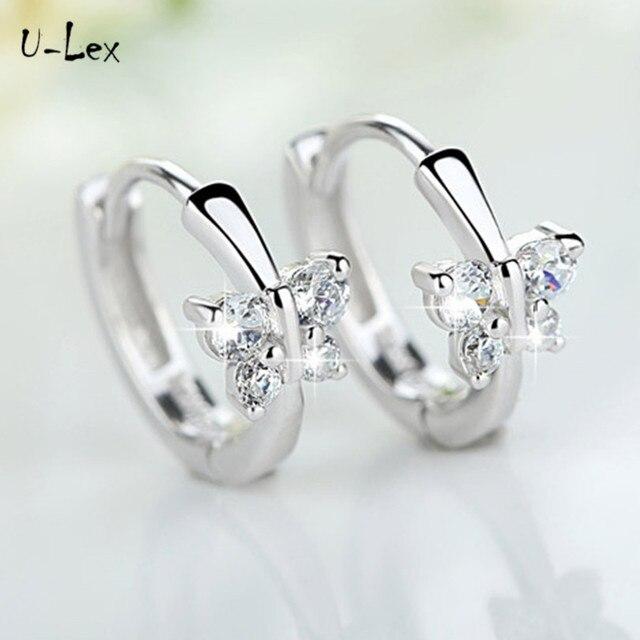 U-Lex Women earrings for women butterfly 100% Real 925 Sterling Silver Jewelry Girls earrings Brand Design Women Gift ED208