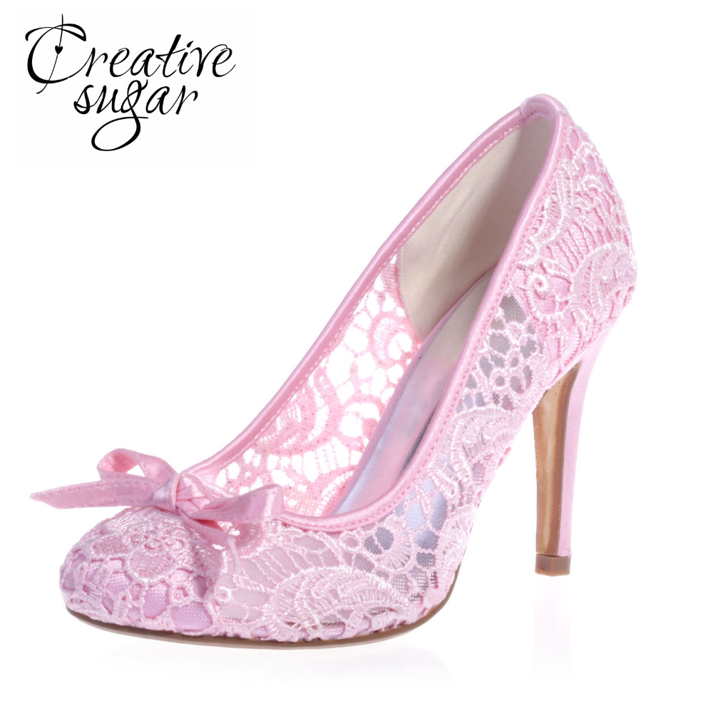 Creativesugar woman elegant sweet lace perspective see through stiletto shoes wedding party prom pumps pointed toe bow heels creativesugar elegant pointed toe woman
