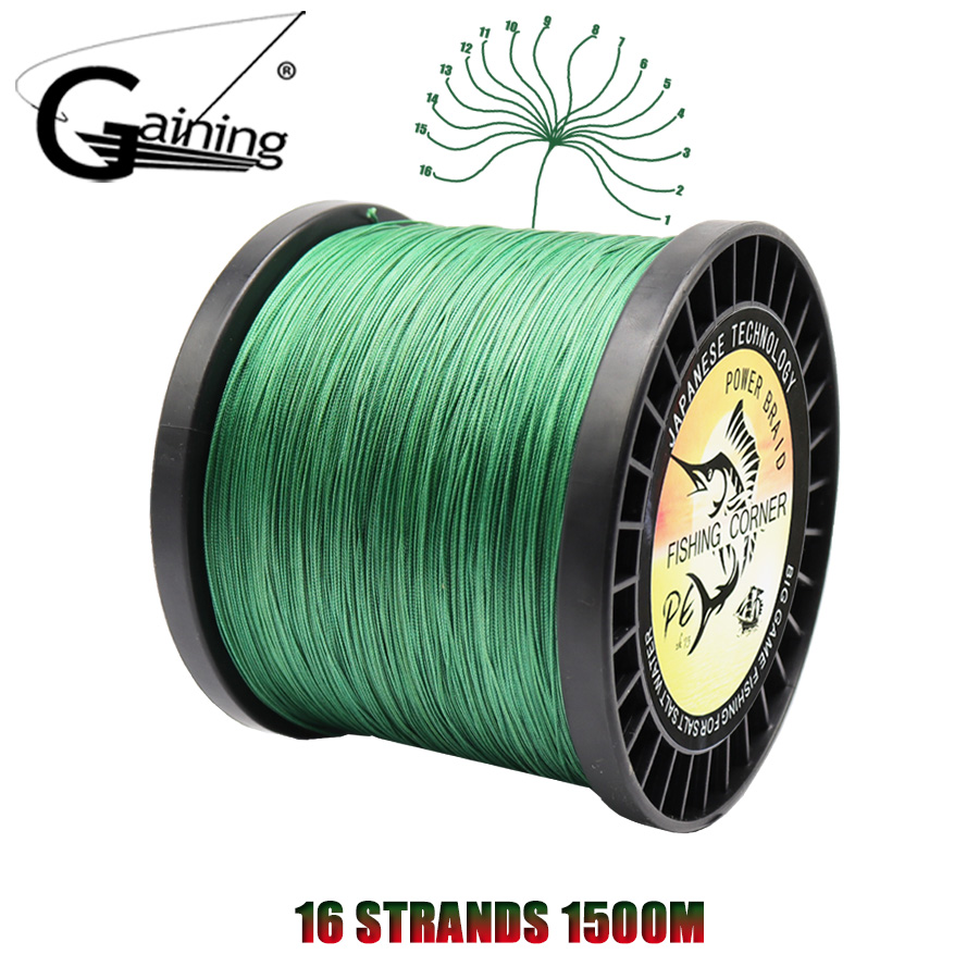 16 Strands Braided Fishing Line 1500M Super Strong Braided Fishing Wire 60LB-310LB Multifilament Pe Line