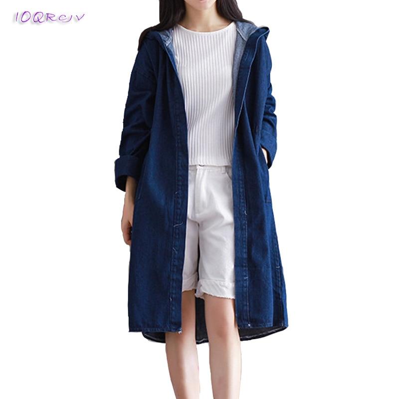 2018 spring coat women Plus size Denim   trench   coat Loose Large size female coat women Casual long   trench   coat IOQRCJV T37
