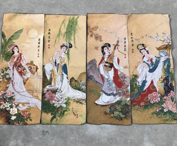 Antique peinture sur soie Chudo peinture quatre Antique diagramme de beauté intérieur pendentif ornement