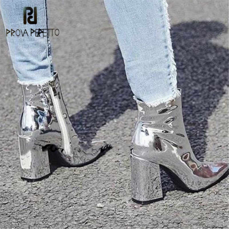Prova Perfetto Sliver Ankle Boots for Women Pointed Toe Chunky High Heel  Boots Mirror Metallic Women 02e1b1cea9b4