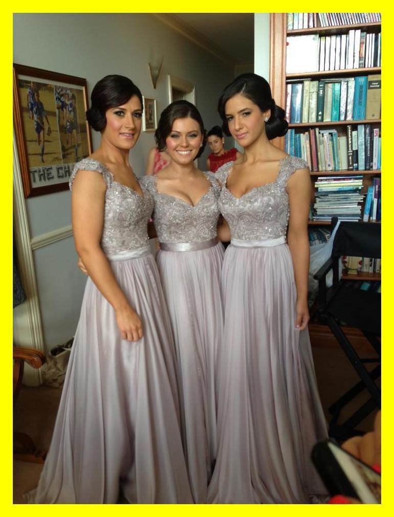 Gris dama de honor vestidos largos niñas púrpura reino unido vestido ...