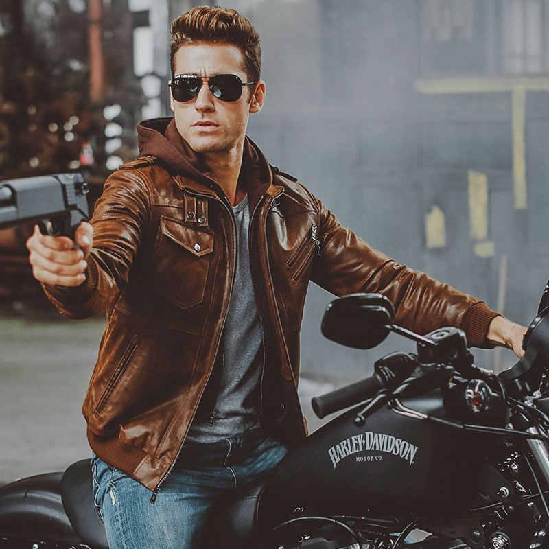 Мужская мотоциклетная куртка из натуральной кожи со съемным капюшоном, зимнее пальто, мужские теплые куртки из натуральной кожи