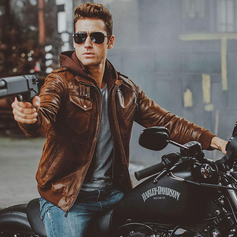 Veste de moto en cuir véritable pour hommes capuche amovible manteau d'hiver pour hommes vestes en cuir véritable chaud - 3