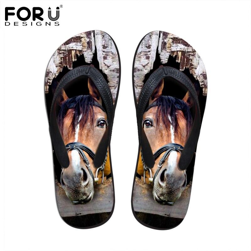 FORUDESIGNS 3D Crazy Animal Horse Print Summer Women Slipper Rubber House Flip Flops for Ladies Female Beach Sandals Flats Shoe