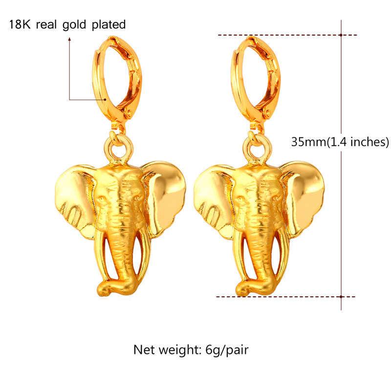 Kpop Vintage Elephant Head Lucky Drop Earrings Women yellow Gold Vàng Màu Bông Tai Thời Trang Đồ Trang Sức Cổ Tình Yêu Quà Tặng Đảng YE1926K